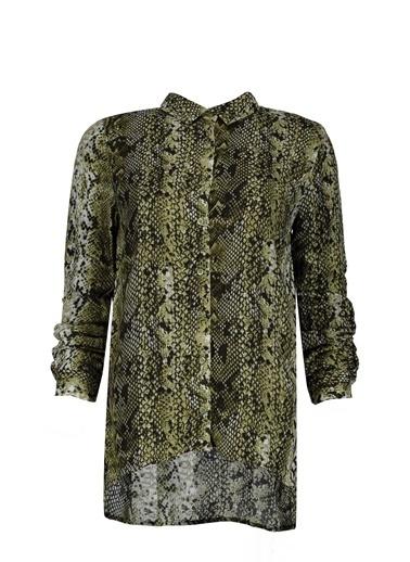 Collezione Yeşil Uzun Kollu Desenli Kadın Gömlek Yeşil